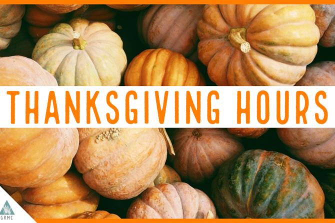 GRMC/ GFHC closed on Thursday, November 26, 2020, for Thanksgiving.