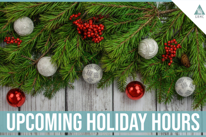 Upcoming Holiday Hours- Christmas and New Year's Day